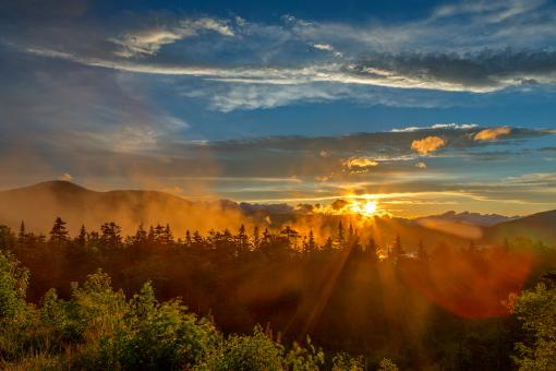 Free Stock Photo of Misty White Mountain Sunset - HDR