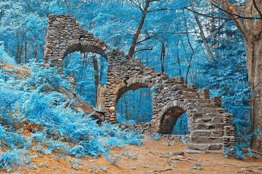 Free Stock Photo of Castle Staircase Ruins - Nuclear Winter HDR