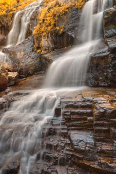 Free Stock Photo of Golden Shelving Rock Falls - HDR