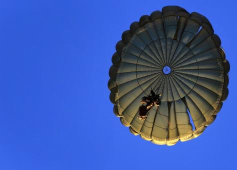 Free Stock Photo of Parachute Jumping
