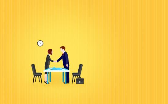 Free Stock Photo of Job interview - Illustration with Copyspace