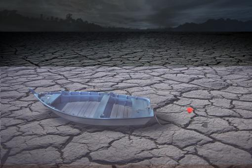 Free Stock Photo of Boat on Barren Land