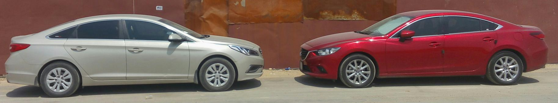 Free Stock Photo of Sonata VS Mazda 6