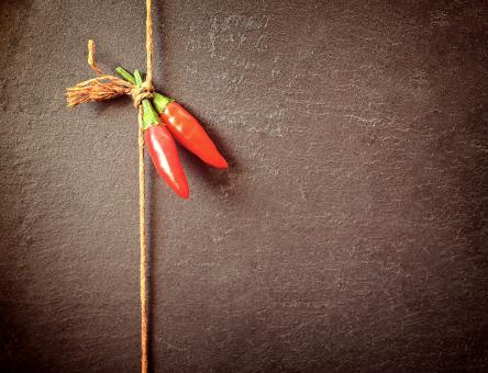 Free Stock Photo of Red Chilli Peppers on a String