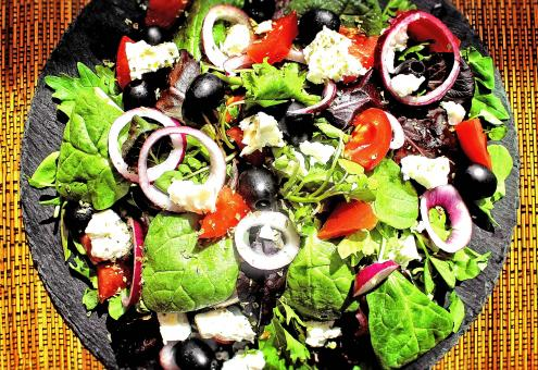 Free Stock Photo of Home Made Natural Looking Greek Salad