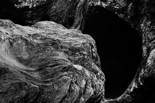 Free Stock Photo of Gobble Rock Cave - Black & White HDR