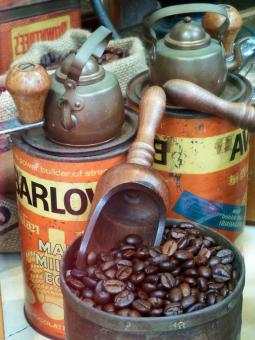 Free Stock Photo of Coffee Beans with Vintage Memorabilia