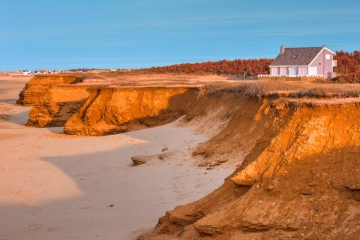 Free Stock Photo of Thunder Cove Beach Cliffs - Golden Pastel Hour HDR
