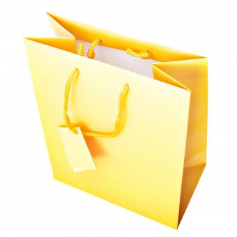 Free Stock Photo of yellow shopping bag