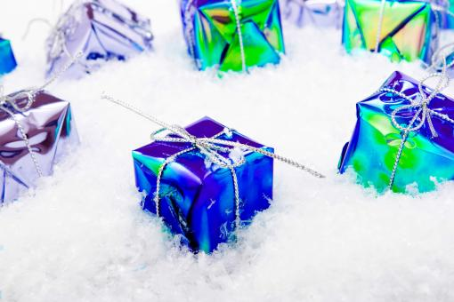 Free Stock Photo of gift boxes in snow