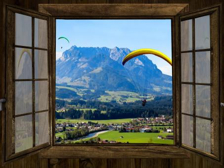 Free Stock Photo of Paraglider through the Window