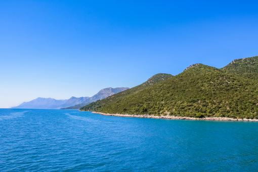 Free Stock Photo of Croatian coastline with blue water and hills