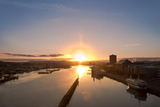 Free Stock Photo of Sunrise over the Swedish Harbour of Gothenburg