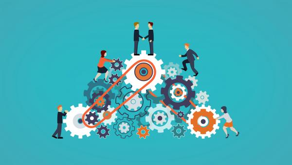 Free Stock Photo of Business People on Cogwheels - Workforce and Teamwork Concept