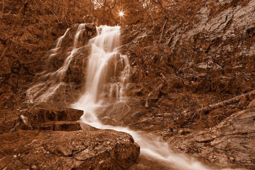 Free Stock Photo of Marbled Sunset Waterfall - Sepia Nostalgia