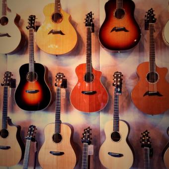 Free Stock Photo of Wall of Guitars