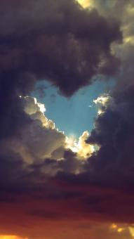 Free Stock Photo of Heart Shaped Break in the Clouds