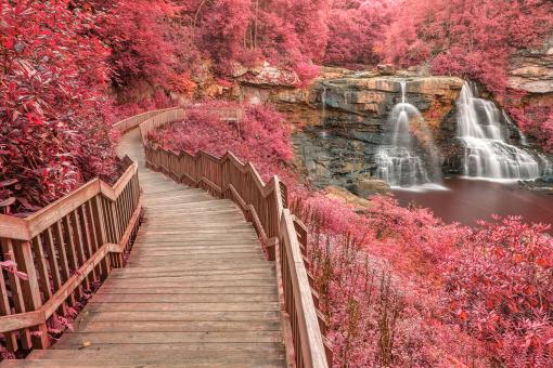 Free Stock Photo of Winding Pink Fantasy Falls - HDR