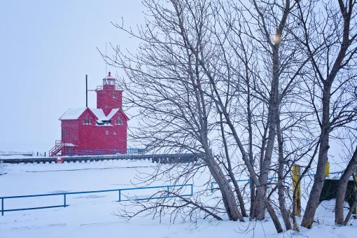 Free Stock Photo of Lighthouse in Winter