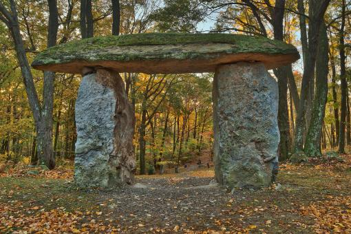 Free Stock Photo of Autumn Forest Megalith - HDR
