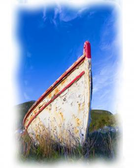 Free Stock Photo of Old Boat Oil Painting