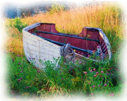 Free Stock Photo of Oil Painting of an Old Boat