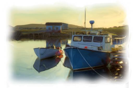 Free Stock Photo of Boats by the Dock - Oil Painting