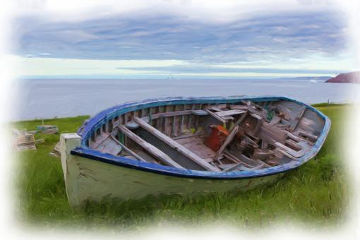 Free Stock Photo of Wooden Boat Oil Painting