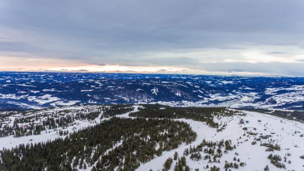 Free Stock Photo of Aerial winter landscape, Ski resort in the mountains