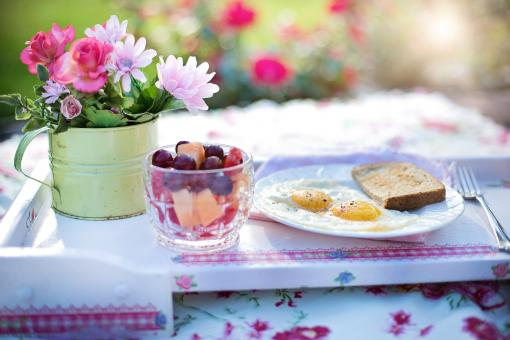 Free Stock Photo of Breakfast and Flowers