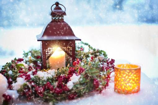 Free Stock Photo of Lantern and Candles at Christmas