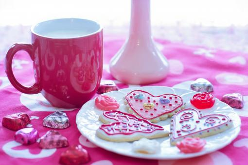 Free Stock Photo of Valentine's Day Milk and Cookies