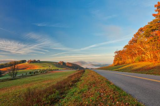 Free Stock Photo of Blue Ridge Parkway - Golden Autumn Hour HDR
