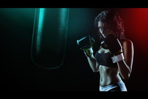 Free Stock Photo of Girl Boxing