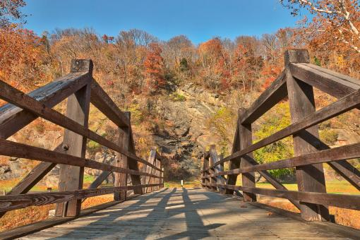 Free Stock Photo of Bridge to Fall - Harpers Ferry HDR
