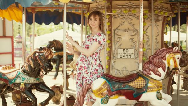 Free Stock Photo of Girl on Carousel