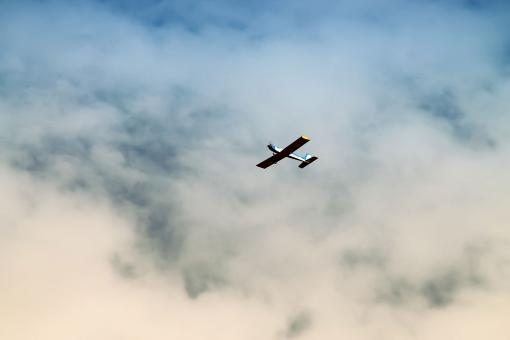 Free Stock Photo of Model Airplane in the Sky