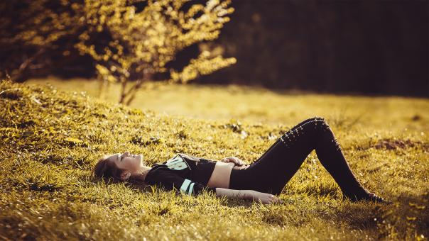 Free Stock Photo of Girl Lying on the Grass