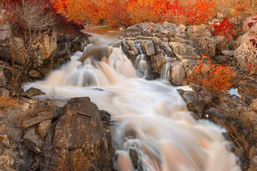 Free Stock Photo of Great Falls Autumn Cascades - Amber Ruby HDR