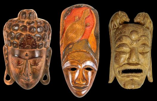 Free Stock Photo of Wooden Masks