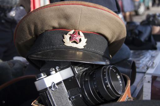 Free Stock Photo of Military Cap and Old Camera