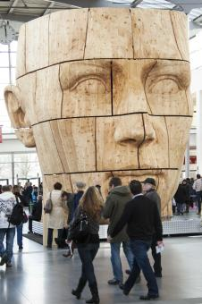 Free Stock Photo of Giant Carved Head in the Building