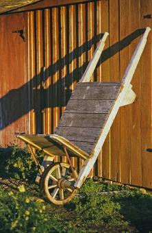 Free Stock Photo of Wooden Wheelbarrow