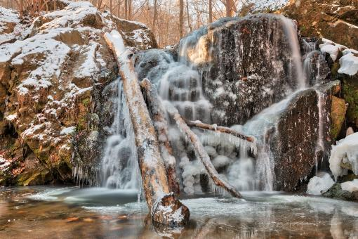 Free Stock Photo of Frozen Cascade Falls - HDR
