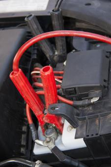 Free Stock Photo of Starter Cable on Car Battery