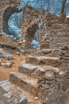 Free Stock Photo of Forest Castle Ruins - Nuclear Winter HDR