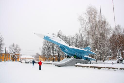 Free Stock Photo of Airplane Monument in Winter