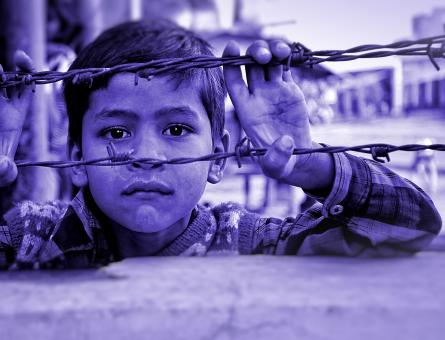 Free Stock Photo of Child and Barbed Wire