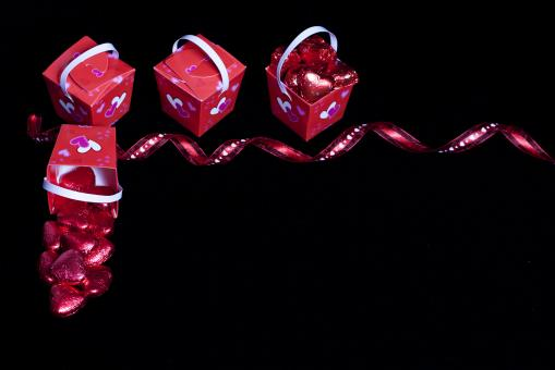 Free Stock Photo of Valentine's Day Candy, Ribbon and Boxes