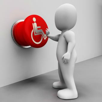 Free Stock Photo of Wheel Chair Button Shows Physical Disability And Immobility